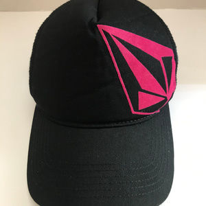 Volcom Black And Pink Trucker Mesh Hat OSFM
